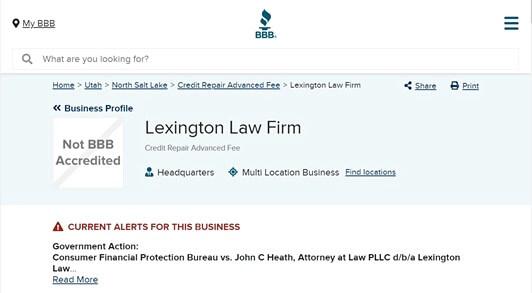 Lexington Law bbb rating