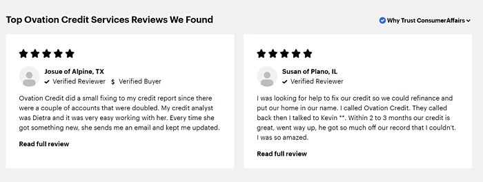 Ovation Credit Services reviews