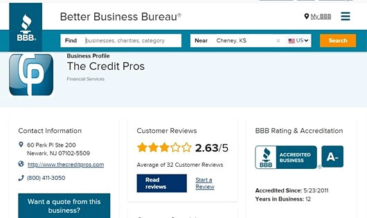 the credit pros bbb ratings